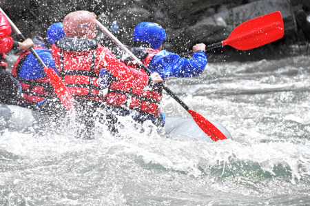 Rafting as extreme and fun sport close up