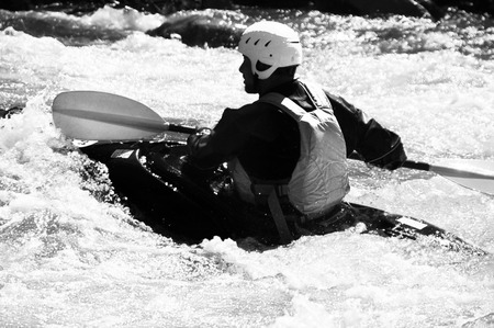 Kayaking B&W photo