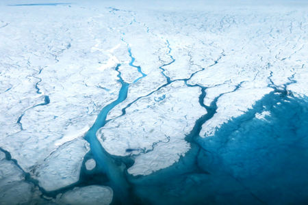 river       water: Glaciers of Greenland. Some graphics are provided by NASA. Stock Photo