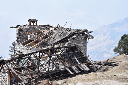 tragedies: Debris from living house during an earthquake in Nepal