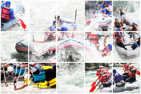 rafting: Whitewater rafting collage Stock Photo