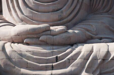 gaya: Detail of Great Buddha statue Bodh Gaya India
