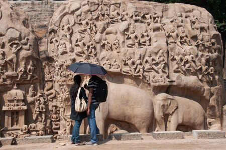Couple at ancient monument Standard-Bild