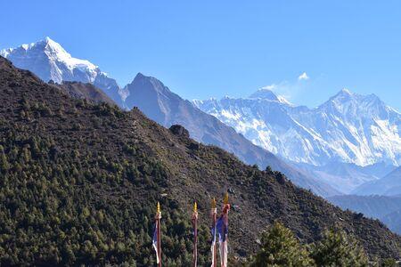 Everest Gebirgszug Blick von Namche Bazar Lizenzfreie Bilder