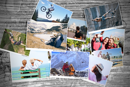 Sport and travel memory photos on a table