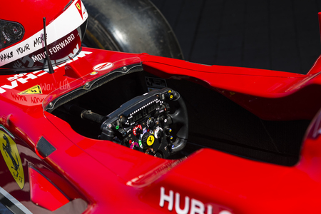 Lviv, Ukraine - Juny 6, 2015: Cockpit of the Ferrari F1  bolide on display at  in the championship of Ukraine drifting in Lviv.