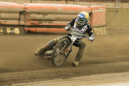 sidecar motocross racing: Rivne, Ukraine - 11 Oktober 2015: Unknown rider overcomes the track at the Open Cup Speedway to the day of the city Rivne Editorial