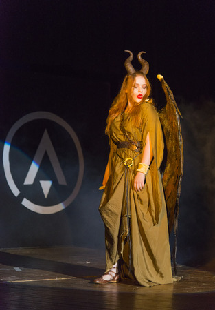 Lviv, Ukraine - May 23.2015: A girl dressed in the demon style  performs on stage during the festival cosplay Anicon in Lviv May 23.2015 Editorial