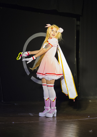 Lviv, Ukraine - May 23.2015: A girl dressed in the manga style  performs on stage during the festival cosplay Anicon in Lviv May 23.2015