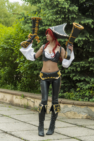 johny: Lviv, Ukraine - May 23,2015: Woman  dressed in the costume of the piraten  performs  at the festival cosplay Anicon in Lviv May 23.2015