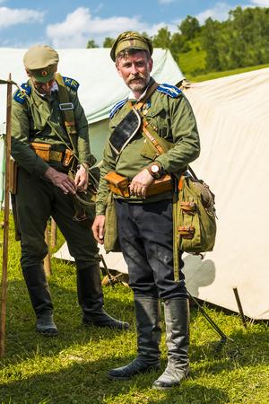 Snina, Slovakia - May 28, 2016: Military historical reconstruction battles of World War I Karpaty 19141916. Participants of event expects to begining reconstruction near Snina, Slovakia.