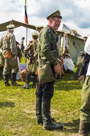Snina, Slovakia - May 28, 2016: Military historical reconstruction battles of World War I Karpaty 19141916. Participant of event expects to begining reconstruction near Snina, Slovakia. Editorial