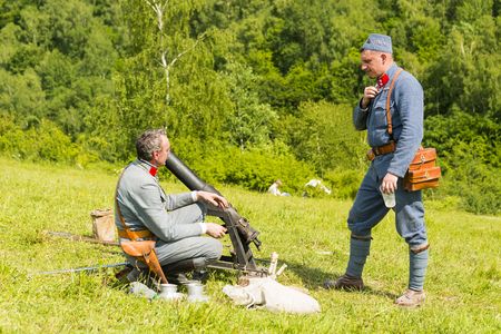 Snina, Slovakia - May 28, 2016: Military historical reconstruction battles of World War I Karpaty 19141916. Participant of event expects to begining reconstruction near Snina, Slovakia. Editorial