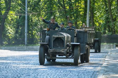 Lviv, Ukraine - June 4, 2017:Old retro car Fiat taking participation in race Leopolis grand prix 2017, Ukraine. Editorial