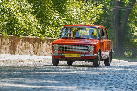 Lviv, Ukraine - June 4, 2017:Old retro car VAZ-2101 taking participation in race Leopolis grand prix 2017, Ukraine. Editorial
