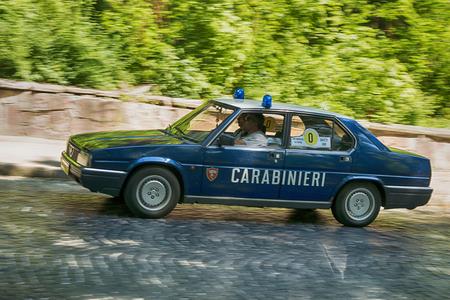 Lviv, Ukraine - June 4, 2017:Old retro car Alfa Romeo 90 taking participation in race Leopolis grand prix 2017, Ukraine.