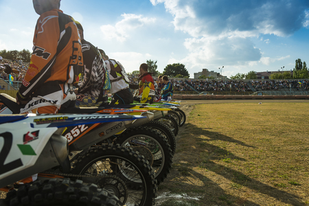 Rivne, Ukraine - 11 October 2015: Unknown riders  during a prepare for the race at the Open Cup Speedway to the day of the city Rivne Editorial