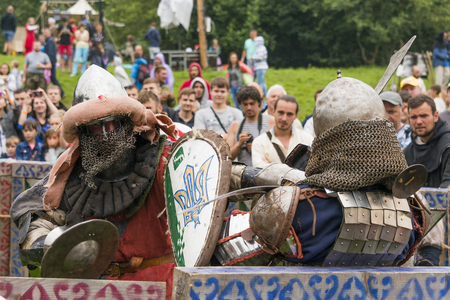 Urych, Ukraine - August 6,2016: Tustan Medieval Culture Festival in Urych, Western Ukraine, on August 6, 2016.Participants of the festival in knight armor arrange fights.