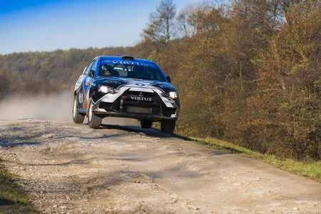 Lviv, Ukraine - November 1, 2015: Alexey Dolots  Mitsubishi Lancer Evo X  competes at the annual Rally Galicia Editorial