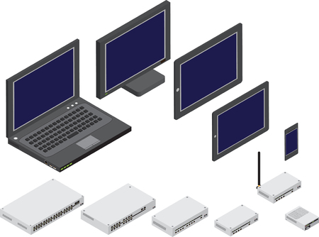 Isometric illustration of network devices