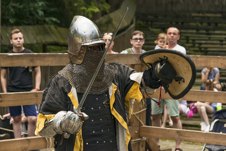 Lviv , Ukraine – august , 04, 2018:  Festival of medieval history and knight duels in the city park in Lviv.Portrait of a knight before a duel