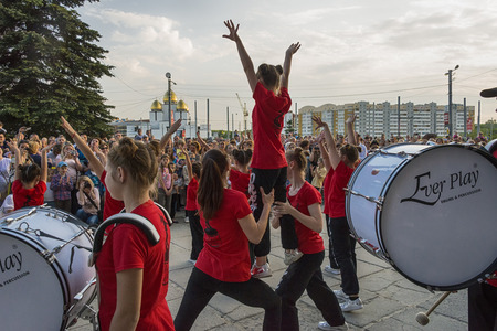 Lviv , Ukraine - May 05 2018: Celebratory events on the occasion of the city day.Young people participate in the dance competition near the city center . Editorial
