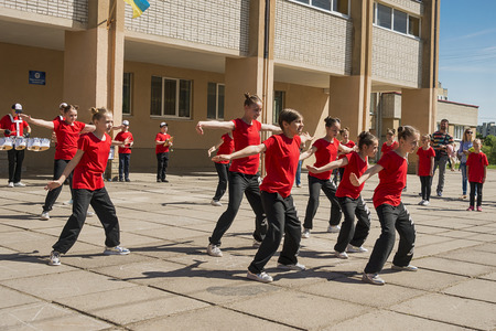 Lviv , Ukraine - May 06 2018: Celebratory events on the occasion of the city day.Children dance at the competition of dance groups .