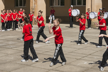 Lviv , Ukraine - May 06 2018: Celebratory events on the occasion of the city day.Young people participate in the dance competition near the city center .