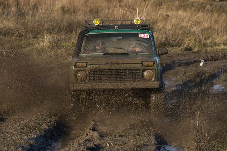 Offroad car  overcomes the track