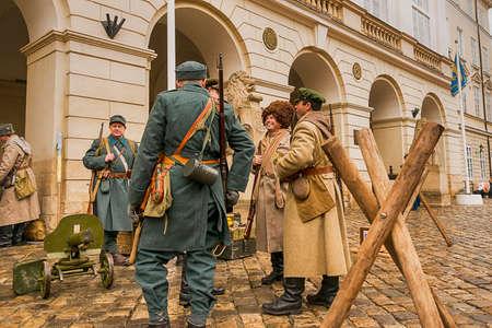 Lviv, Ukraine - February 02, 2020: Military historical reconstruction The November revolution. Portrait Soldiers of the Russian Army Lviv, Ukraine.