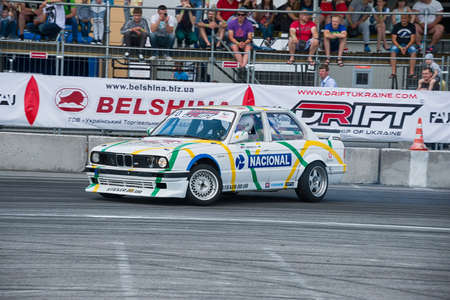 Lviv, Ukraine - June 4, 2016: Unknown rider on the car brand BMW overcomes the track in the championship of Ukraine drifting in Lviv, Ukraine. Editorial