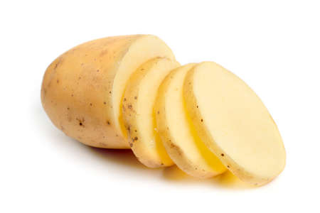 Isolated potatoes. raw slice potato vegetables isolated on white background. Banque d'images