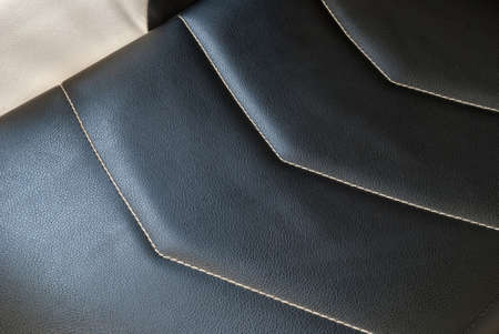 Eco leather with stripes stitched across cross for car interior.