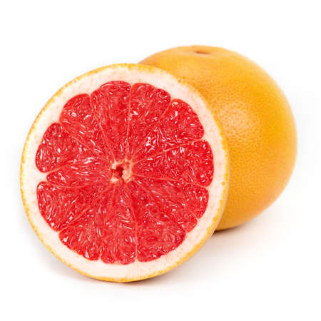 Half and slice of grapefruit isolated on white.