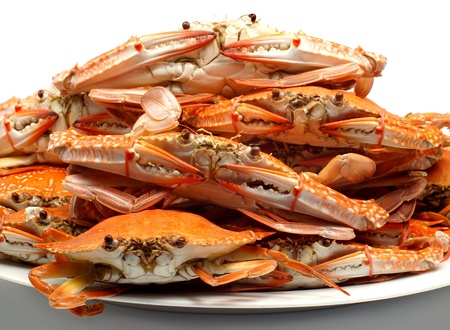 Steamed blue crab                                   Stock Photo