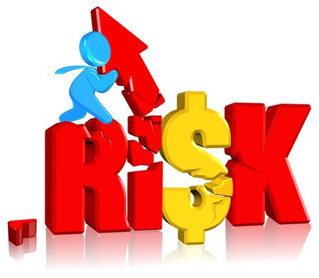 crack climbing: Investment risk Business concept Three dimension style and high quality