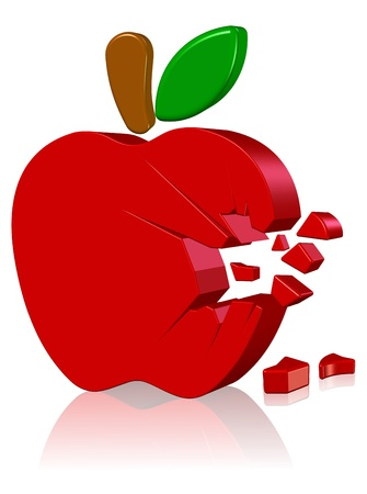 Broken apple Three dimension style and High Quality Image