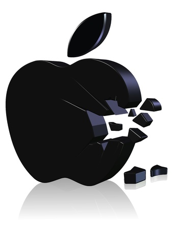 apple computers: Broken apple Three dimension style and High Quality Image