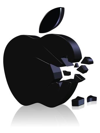 logo medicina: Broken manzana tres dimensiones estilo y alta calidad de imagen Foto de archivo