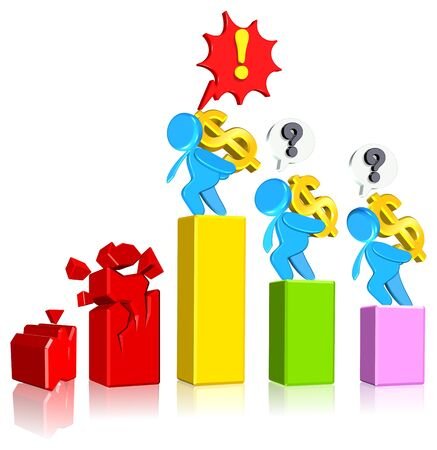 fail Business Chart Three dimension style and High Quality Image Stock Photo