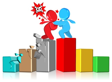 Conflict Business Chart Three dimension style and High Quality Image Stock Photo