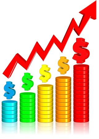 Increasing Money Chart Three dimension style and high quality image Stock Photo - 13403754