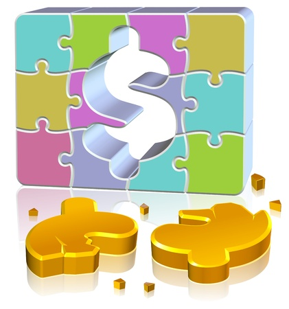 Dollar Jigsaw Concept Three dimension style and high quality image Stock Photo