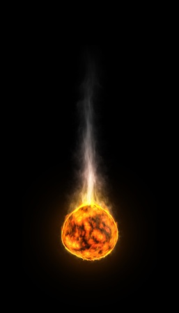 A hot, melting stone on fire with a long smoke trail Stock Photo - 15094000
