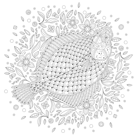 Hand-drawn sketch of a fish on the white background. Image for coloring pages. Vector illustration Illustration