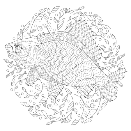 Hand drawn decorated cartoon crucian on algae. Image for coloring pages. Vector illustration