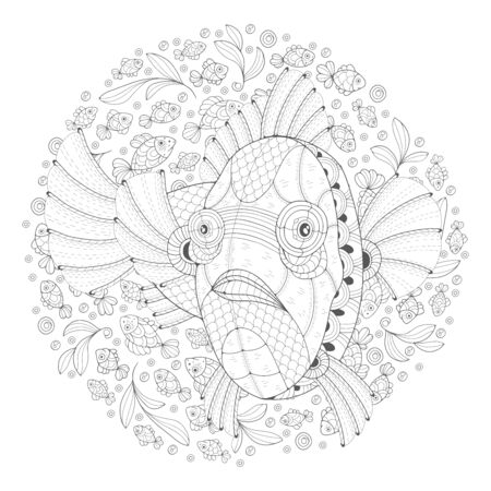 Hand-drawn decorated cartoon fish on a white background among small fish. Image for coloring pages. Vector illustration