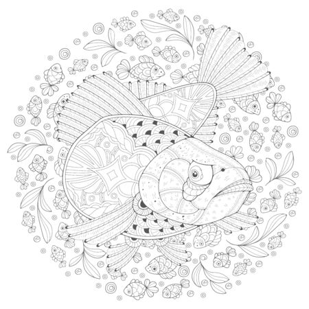 Hand-drawn decorated cartoon among small fish. Image for coloring pages. Vector illustration Vector Illustratie