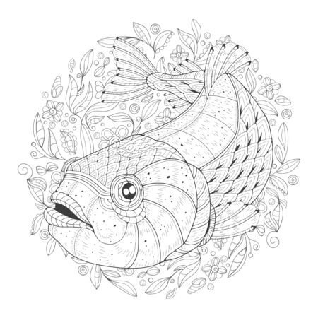 Freehand drawing with a trout in the midst of algae. Image for coloring pages. Coloring book.