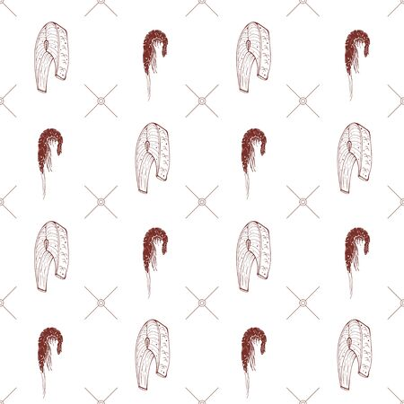 Seamless pattern with shrimps and fish steaks on a white background. Vector illustration